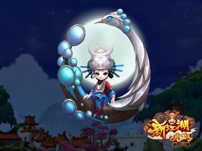 圆圆的月亮像荷叶